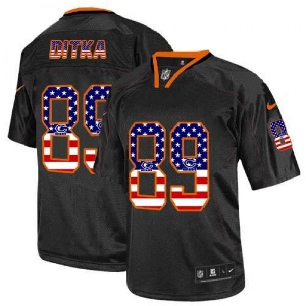 Nike Bears #89 Mike Ditka Black Men's Stitched NFL Elite USA Flag Fashion Jersey