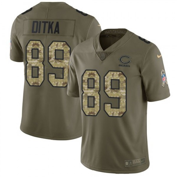 Nike Bears #89 Mike Ditka Olive/Camo Men's Stitched NFL Limited 2017 Salute To Service Jersey