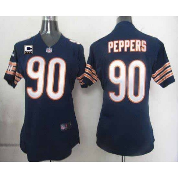 Women's Bears #90 Julius Peppers Navy Blue Team Color With C Patch Stitched NFL Elite Jersey