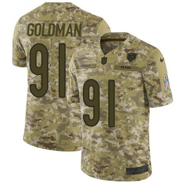 Nike Bears #91 Eddie Goldman Camo Men's Stitched NFL Limited 2018 Salute To Service Jersey