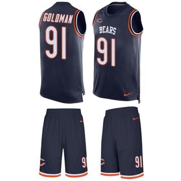 Nike Bears #91 Eddie Goldman Navy Blue Team Color Men's Stitched NFL Limited Tank Top Suit Jersey