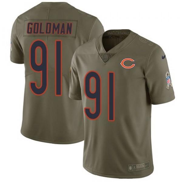 Nike Bears #91 Eddie Goldman Olive Men's Stitched NFL Limited 2017 Salute To Service Jersey