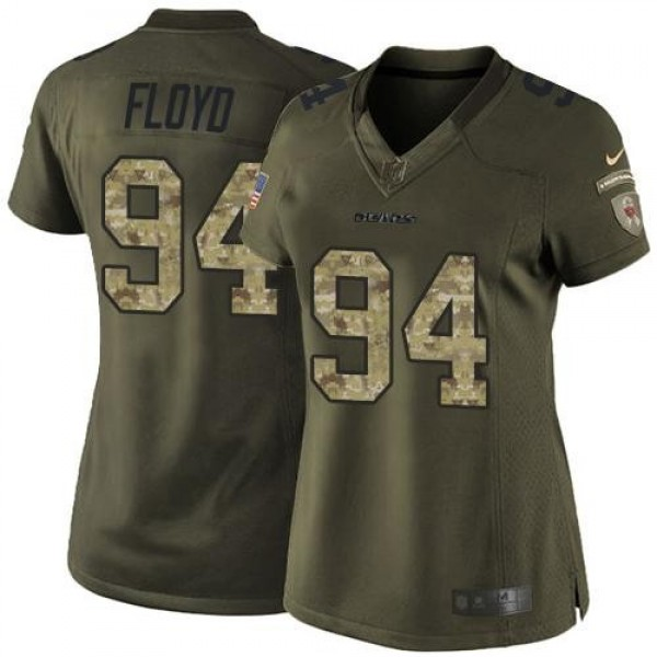 Women's Bears #94 Leonard Floyd Green Stitched NFL Limited Salute to Service Jersey