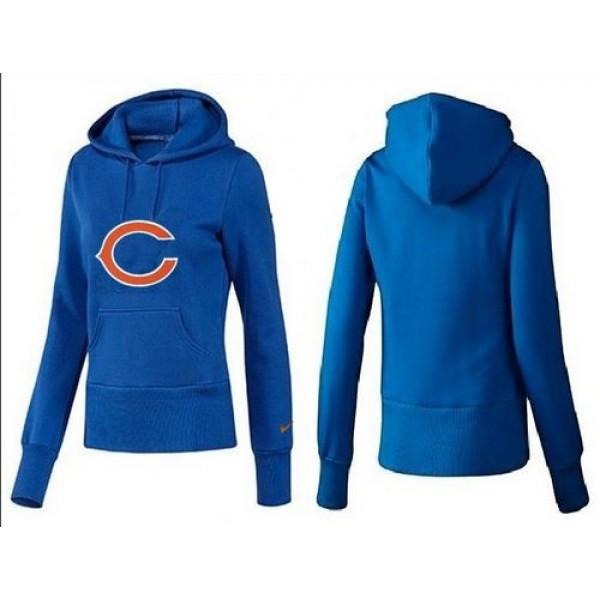 Women's Chicago Bears Logo Pullover Hoodie Blue Jersey