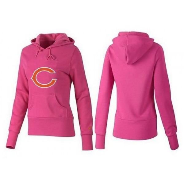 Women's Chicago Bears Logo Pullover Hoodie Pink Jersey