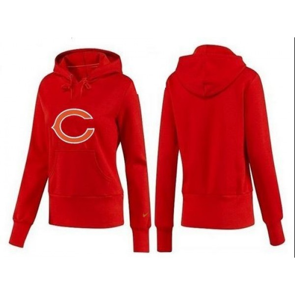 Women's Chicago Bears Logo Pullover Hoodie Red Jersey