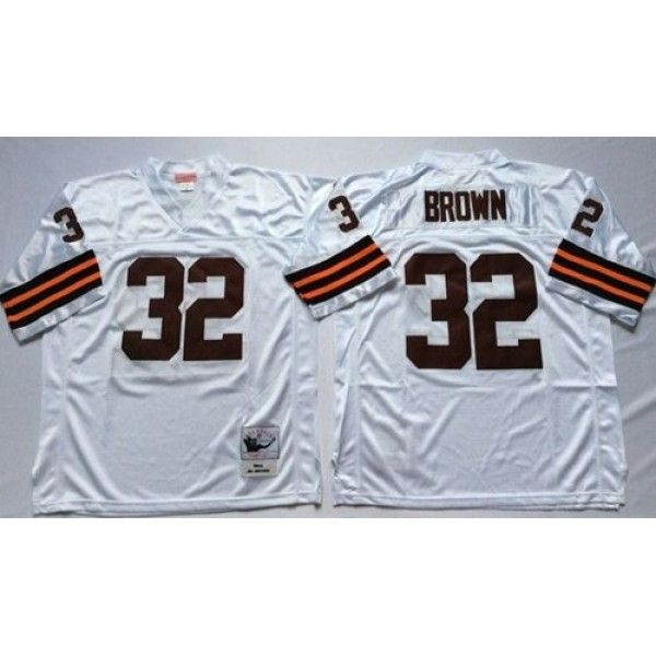Mitchell And Ness 1963 Browns #32 Jim Brown White Throwback Stitched NFL Jersey