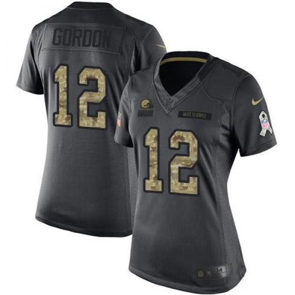 Women's Browns #12 Josh Gordon Black Stitched NFL Limited 2016 Salute to Service Jersey