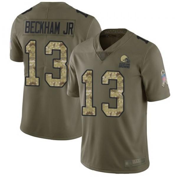 Nike Browns #13 Odell Beckham Jr Olive/Camo Men's Stitched NFL Limited 2017 Salute To Service Jersey