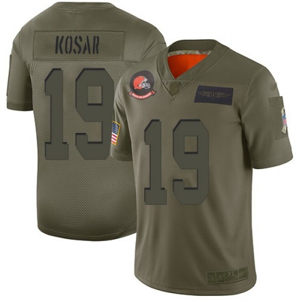 Nike Browns #19 Bernie Kosar Camo Men's Stitched NFL Limited 2019 Salute To Service Jersey