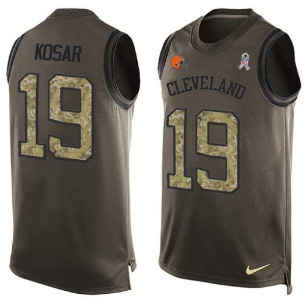 Nike Browns #19 Bernie Kosar Green Men's Stitched NFL Limited Salute To Service Tank Top Jersey