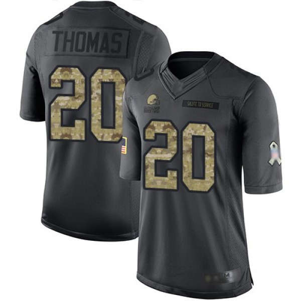 Nike Browns #20 Tavierre Thomas Black Men's Stitched NFL Limited 2016 Salute to Service Jersey