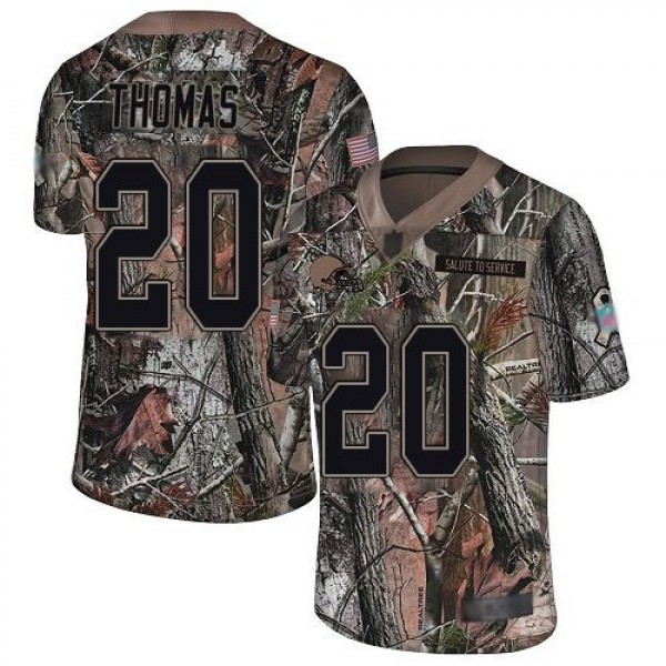 Nike Browns #20 Tavierre Thomas Camo Men's Stitched NFL Limited Rush Realtree Jersey