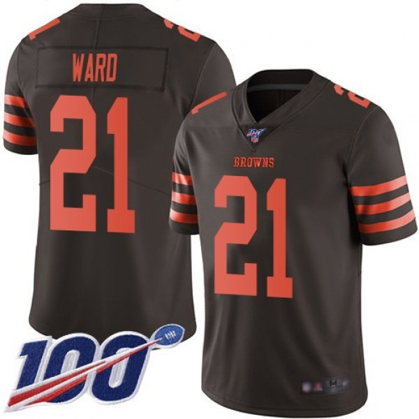 Nike Browns #21 Denzel Ward Brown Men's Stitched NFL Limited Rush 100th Season Jersey