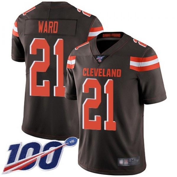 Nike Browns #21 Denzel Ward Brown Team Color Men's Stitched NFL 100th Season Vapor Limited Jersey
