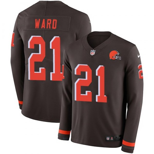 Nike Browns #21 Denzel Ward Brown Team Color Men's Stitched NFL Limited Therma Long Sleeve Jersey