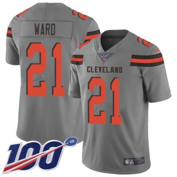 Nike Browns #21 Denzel Ward Gray Men's Stitched NFL Limited Inverted Legend 100th Season Jersey