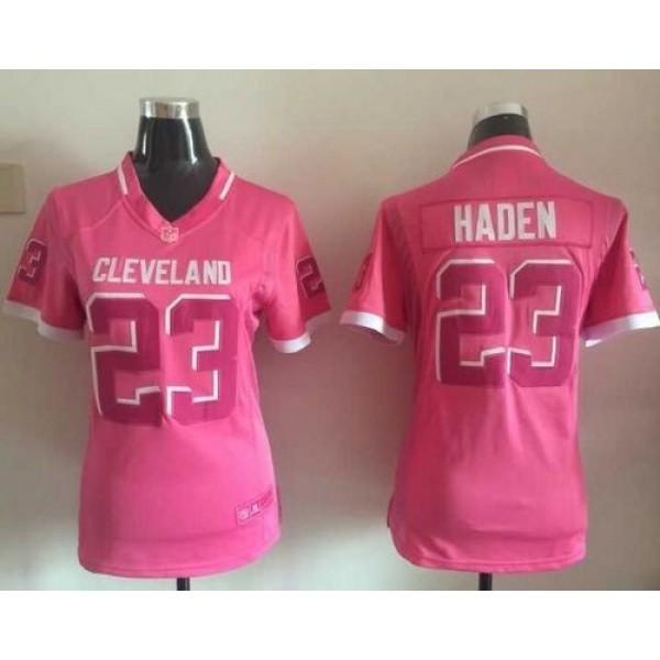 Women's Browns #23 Joe Haden Pink Stitched NFL Elite Bubble Gum Jersey