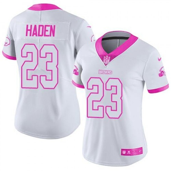 Women's Browns #23 Joe Haden White Pink Stitched NFL Limited Rush Jersey