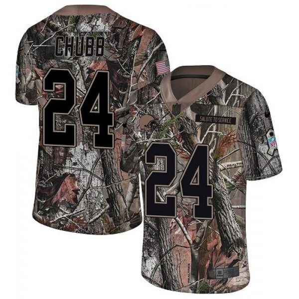 Nike Browns #24 Nick Chubb Camo Men's Stitched NFL Limited Rush Realtree Jersey