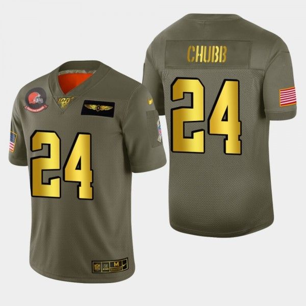Nike Browns #24 Nick Chubb Men's Olive Gold 2019 Salute to Service NFL 100 Limited Jersey