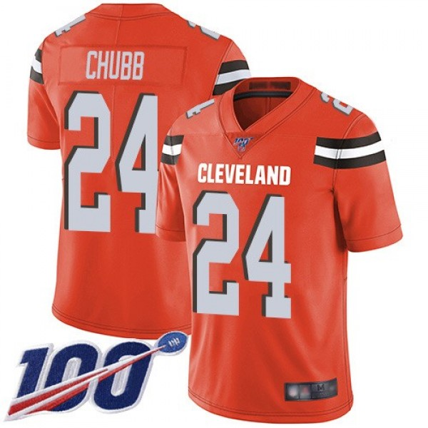 Nike Browns #24 Nick Chubb Orange Alternate Men's Stitched NFL 100th Season Vapor Limited Jersey