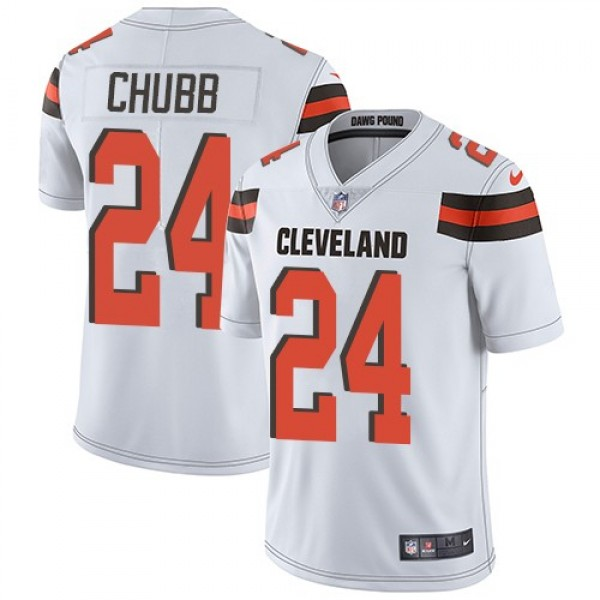 Nike Browns #24 Nick Chubb White Men's Stitched NFL Vapor Untouchable Limited Jersey