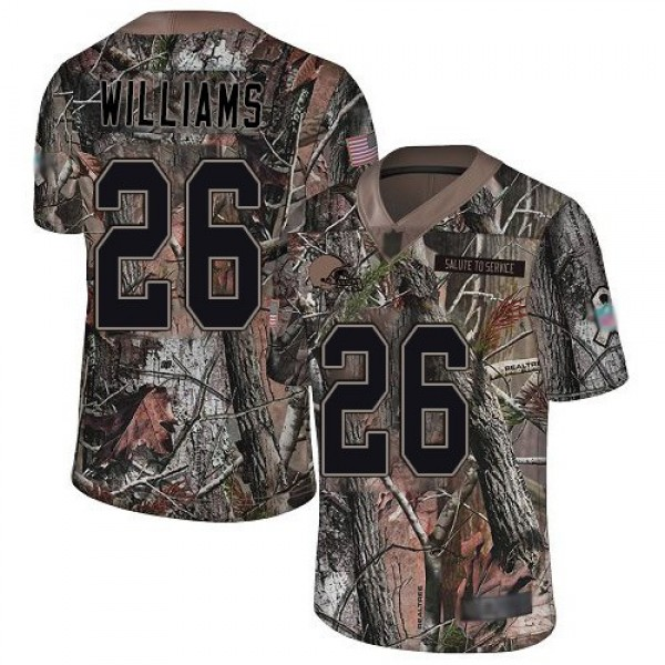 Nike Browns #26 Greedy Williams Camo Men's Stitched NFL Limited Rush Realtree Jersey