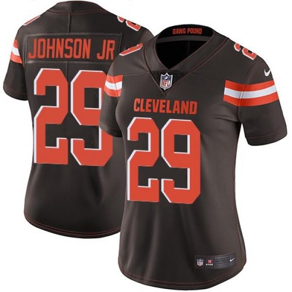 Women's Browns #29 Duke Johnson Jr Brown Team Color Stitched NFL Vapor Untouchable Limited Jersey