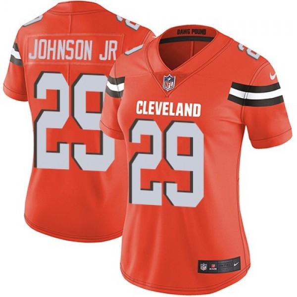 Women's Browns #29 Duke Johnson Jr Orange Alternate Stitched NFL Vapor Untouchable Limited Jersey