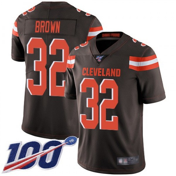 Nike Browns #32 Jim Brown Brown Team Color Men's Stitched NFL 100th Season Vapor Limited Jersey