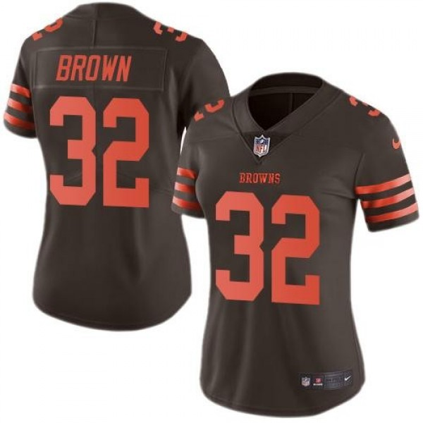 Women's Browns #32 Jim Brown Brown Stitched NFL Limited Rush Jersey