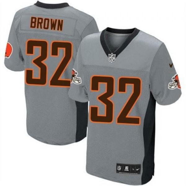 Nike Browns #32 Jim Brown Grey Shadow Men's Stitched NFL Elite Jersey