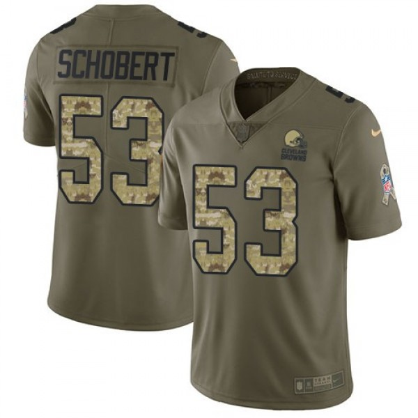 Nike Browns #53 Joe Schobert Olive/Camo Men's Stitched NFL Limited 2017 Salute To Service Jersey
