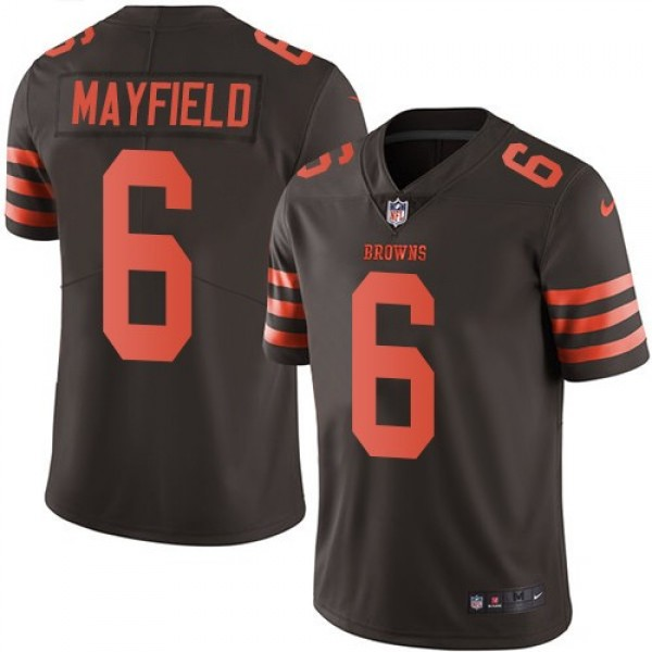 Nike Browns #6 Baker Mayfield Brown Men's Stitched NFL Limited Rush Jersey