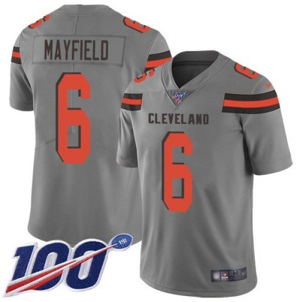 Nike Browns #6 Baker Mayfield Gray Men's Stitched NFL Limited Inverted Legend 100th Season Jersey