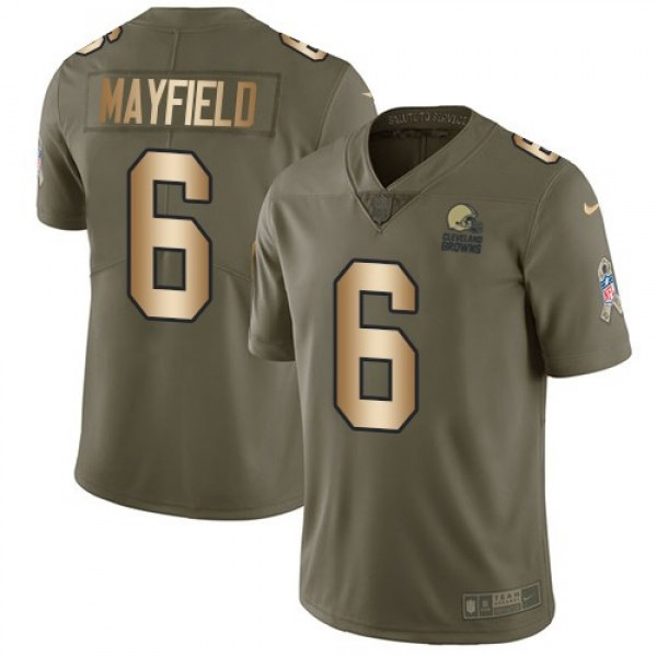 Nike Browns #6 Baker Mayfield Olive/Gold Men's Stitched NFL Limited 2017 Salute To Service Jersey