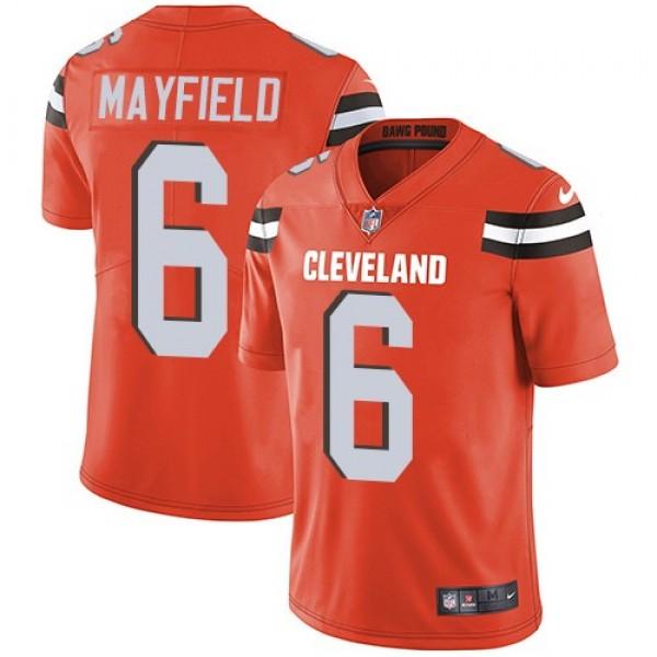 Nike Browns #6 Baker Mayfield Orange Alternate Men's Stitched NFL Vapor Untouchable Limited Jersey