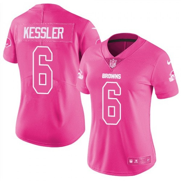 Women's Browns #6 Cody Kessler Pink Stitched NFL Limited Rush Jersey