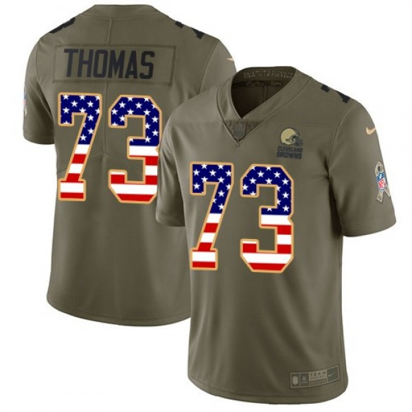 Nike Browns #73 Joe Thomas Olive/USA Flag Men's Stitched NFL Limited 2017 Salute To Service Jersey