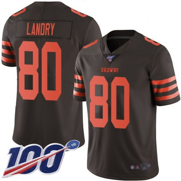Nike Browns #80 Jarvis Landry Brown Men's Stitched NFL Limited Rush 100th Season Jersey