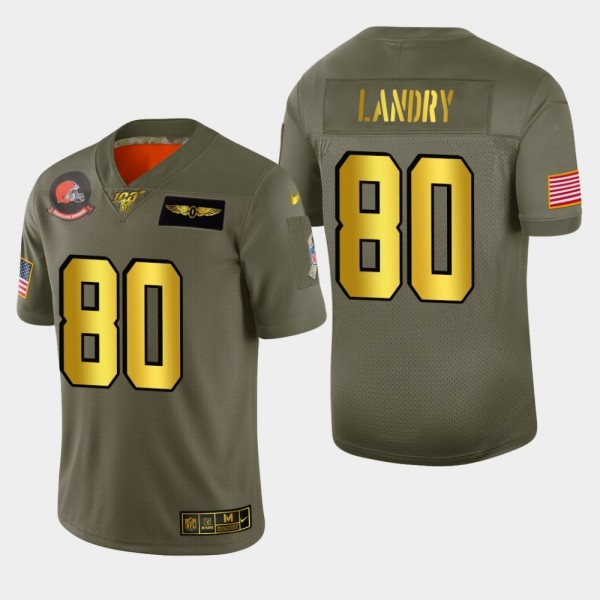 Nike Browns #80 Jarvis Landry Men's Olive Gold 2019 Salute to Service NFL 100 Limited Jersey