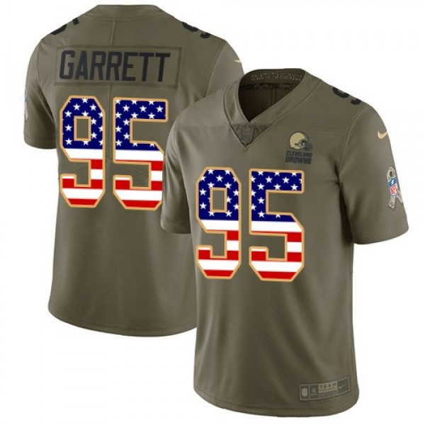 Nike Browns #95 Myles Garrett Olive/USA Flag Men's Stitched NFL Limited 2017 Salute To Service Jersey