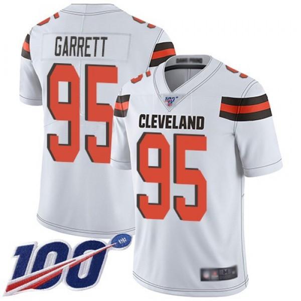 Nike Browns #95 Myles Garrett White Men's Stitched NFL 100th Season Vapor Limited Jersey