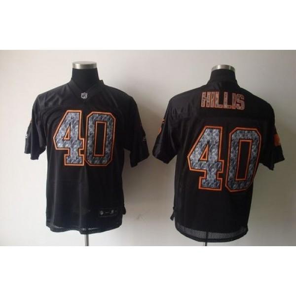 Sideline Black United Browns #40 Peyton Hillis Black Stitched NFL Jersey