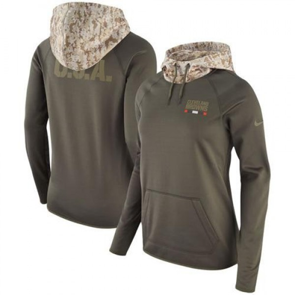 Women's Cleveland Browns Olive Salute to Service Pullover Hoodie Jersey