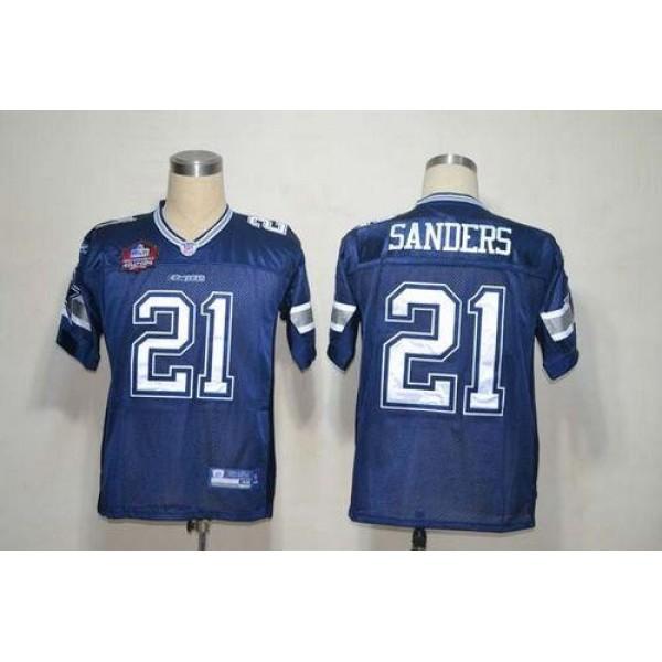 Cowboys #21 Deion Sanders Blue Team Color Stitched NFL Jersey