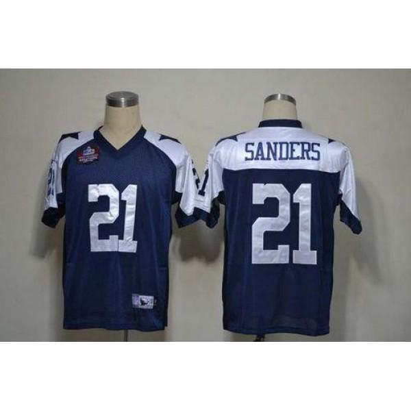 Cowboys #21 Deion Sanders Blue Thanksgiving Stitched NFL Jersey
