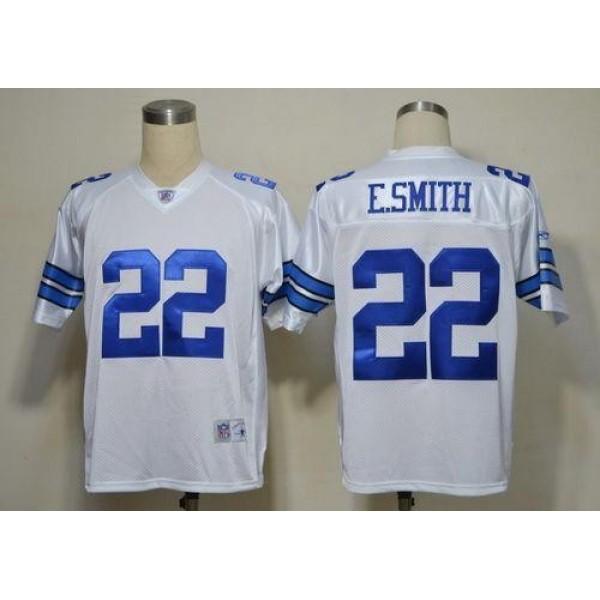 Cowboys #22 Emmitt Smith White Legend Throwback Stitched NFL Jersey