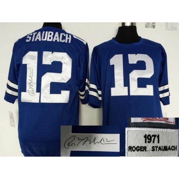 Mitchell And Ness Autographed Cowboys #12 Roger Staubach Blue Throwback Stitched NFL Jersey